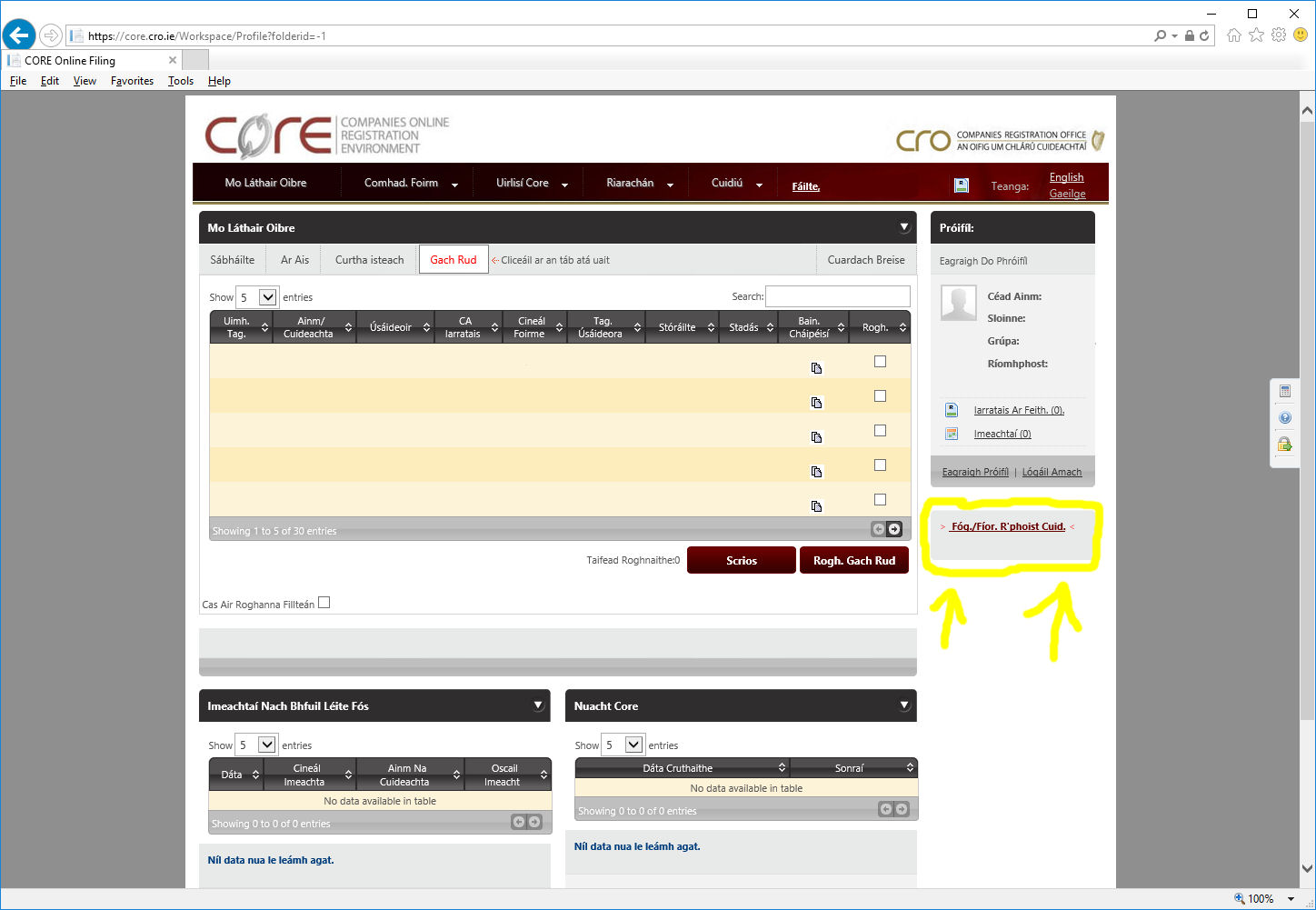 Image of Core website