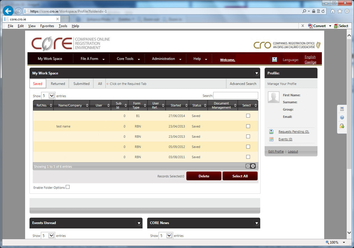 Workspace Page on CORE website