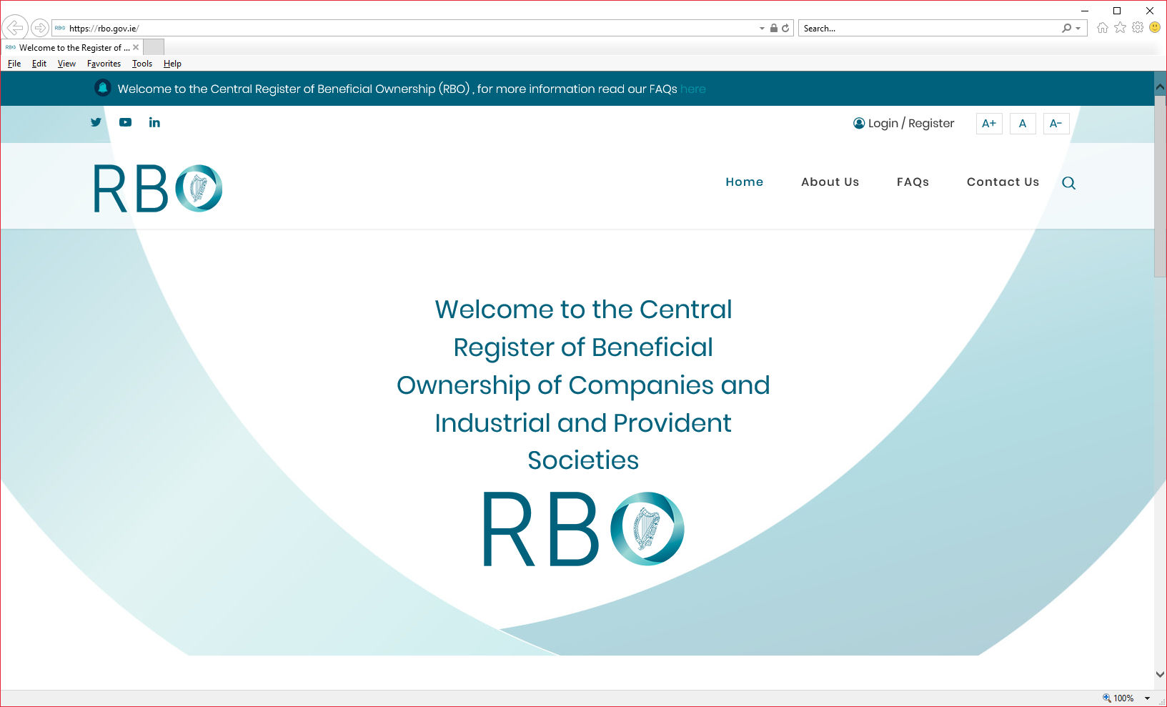 RBO Website homepage